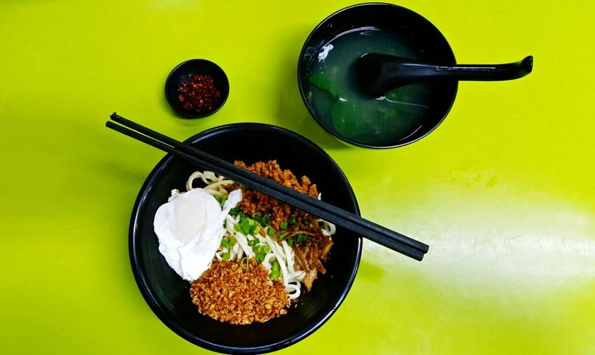 Chilli pan mee, a noodle dish served with minced meat, anchovies and poached eggs, traditionally served with potato leaf soup, in Petaling Jaya, Selangor, Malaysia. Malaysia Petaling Jaya Food Chilli Pan Mee Hawker Food