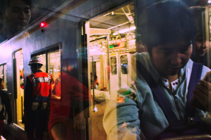 tanah Abang station, January 2018 Streetphotography Documentaryphotography Train Train Station Commuter Commuting Commuter Train Commuters Commuterline Local Transport Transportation City Transportation Window Night Reflection Illuminated Lifestyles Men Store Real People Adults Only City