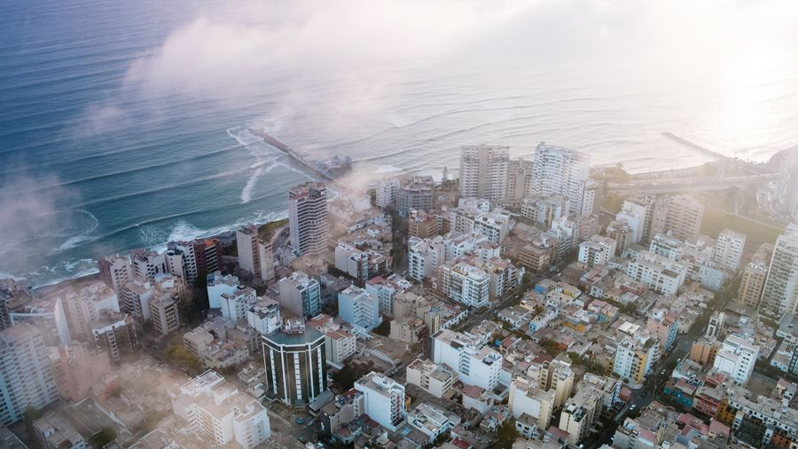 Aerial South America Lima Urban Streets Peru Beach Cloud Fog Pier Dock Coastal Waves Ocean Skyscraper Cityscape City Skyscraper Sky Architecture Urban Skyline Downtown District Aerial View Downtown Tall - High Urban Sprawl Tower This Is Latin America