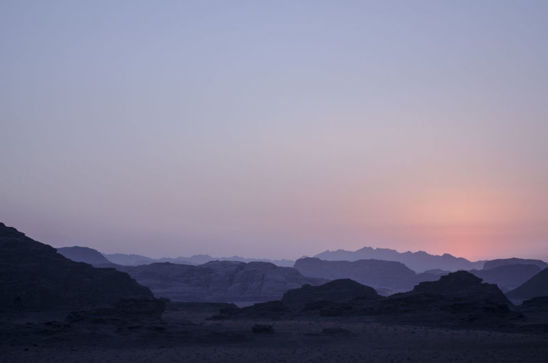 Scenic view of wadi rum against clear sky during sunset