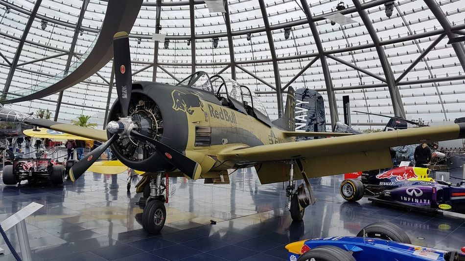 """ T-28B Trojan, Hangar7 in Salzburg, Nikon D3100"" Red Bull T-28,Vintage Airplanes, Warbird Bird Of Prey Warbird Aircraft Day Aerospace Industry Indoors  Air Vehicle No People Airplane Military Transportation Mode Of Transport Airplane Hangar Indoors"
