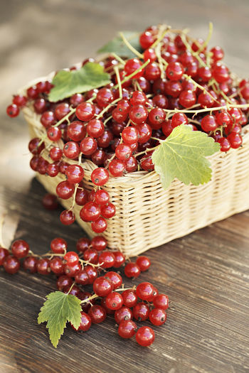 Red Currants in a small wicker basket. Food And Drink Fruit Food Red Wood - Material Berry Fruit No People Still Life Large Group Of Objects Red Currant Ripe