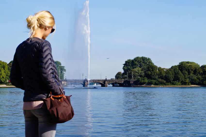 Adult Adults Only Außenalster Blond Hair City City Life Cloud - Sky Day Enjoy The New Normal Hamburg My Year My View One Person One Woman Only One Young Woman Only Only Women Outdoors People Rear View Sky Water Young Adult Young Women