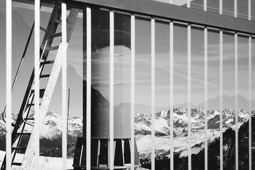 Architecture Building Exterior Built Structure Day Ladder Lines Mountain View Mountains No People Outdoors Refelections Sky Snow Winter