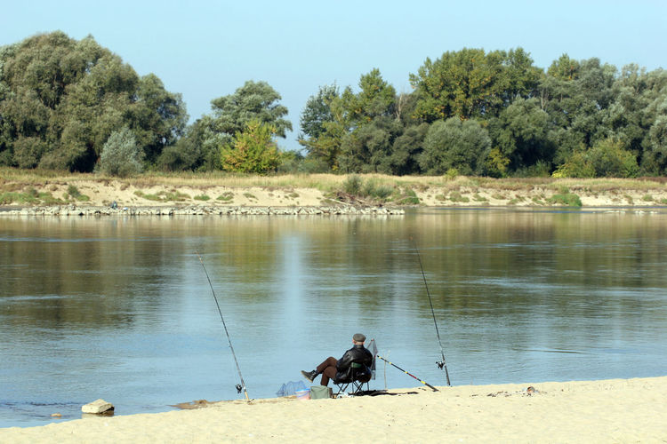 Fisherman Fishing Nature One Man Only One Person Relax River Vistula Water Wisla Wisła