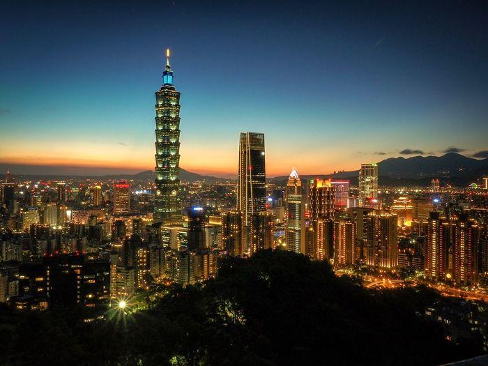 Taipei city Architecture Built Structure Illuminated City Building Exterior Building Sky Night Cityscape Skyscraper Urban Skyline Landscape Tower