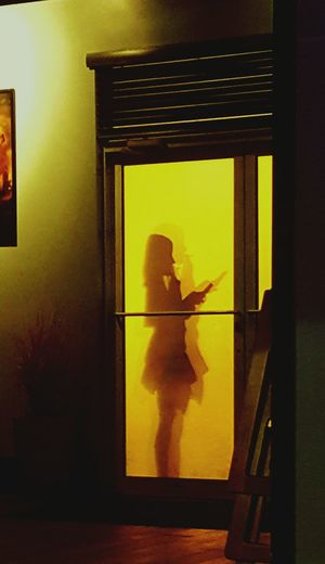 Not the best quality, but i was out to dinner the other night when I saw this woman smoking outside. Something allured me to the visual, so i took my phone out and snapped a few pics. In a matter of minutes she disappeared.. and the doorway remained shadowless once again. (January 20.17) Window Silhouette One Animal Standing Animal Themes Indoors  Real People One Person Resturant Geneva Lady Smoking Beauty Simplicity Yellow Golden People
