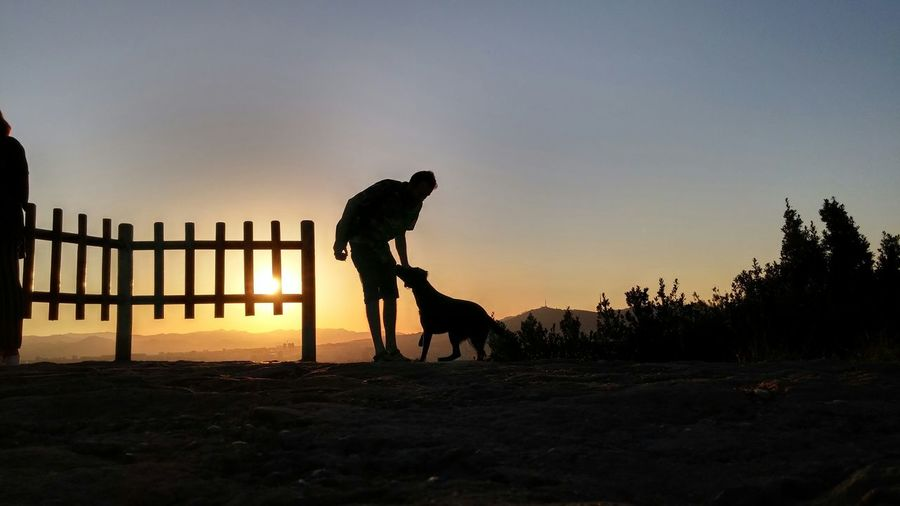 Man with dog on landscape against sunset sky