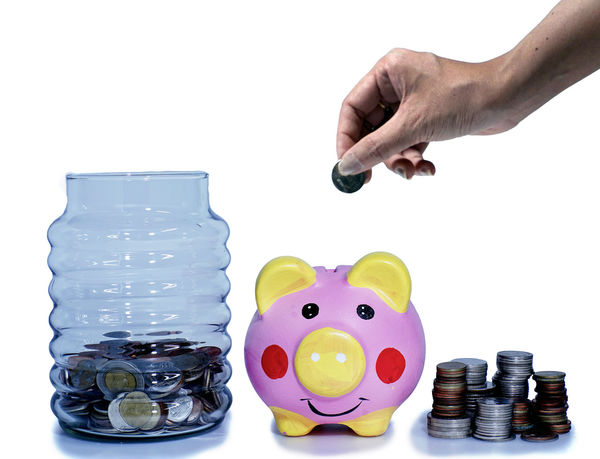 Concept savings for retirement age Bangkok Budget Close-up Coin Currency Day Finance Fund Human Body Part Human Hand Indoors  Investment Large Group Of Objects Money One Person People Piggy Bank Real People Responsibility Save Savings Studio Shot Wealth White Background