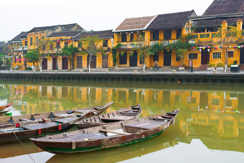Hoi An, Vietnam Hoi An Morning Reflection Water Architecture Ancient Riverside Boat First Eyeem Photo