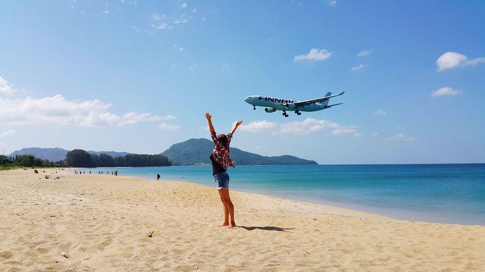 Girl Beach Plane Finnair Sea ASIA Airport Sunny
