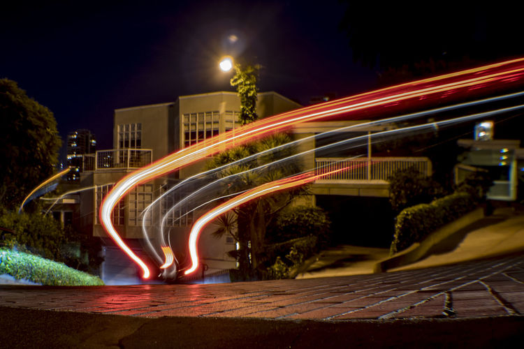 Lombard St. Light Trail Architecture Blurred Motion Building Exterior City High Street Illuminated Light Trail Long Exposure Motion Night No People Outdoors Road Sky Speed Street Street Light Transportation Tree