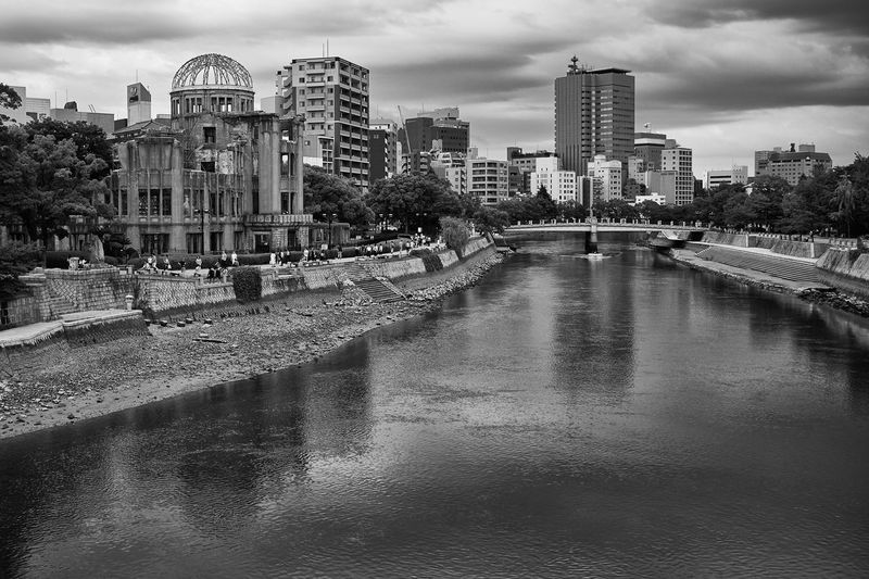 Otagawa River and Atomic Bomb Dome, Hiroshima Urban Atomic Bomb Dome Clouds Sky Japan Hiroshima Memorial World Heritage Site War Memorial Monochrome Blackandwhite Black And White Black & White Gloomy Moody Architecture Monument Iconic Landmark River Reflection Ruin Landscape