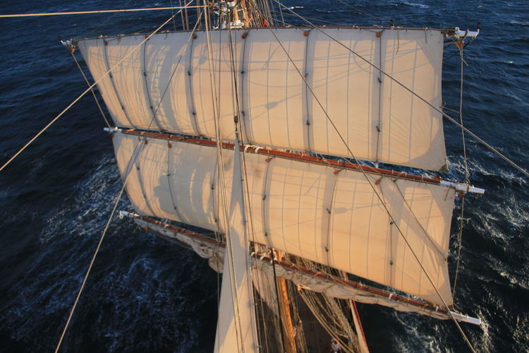 Aloft Birds Eye View Boat Mode Of Transport Nautical Vessel Outdoors Sailing Sails Sea Square Rigger Tall Ship