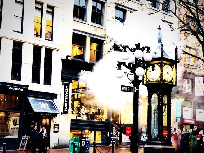 Steam Clock Tower Clock Steamclock Gastown Vancouver. Gastown Building Exterior Architecture City Built Structure Incidental People Outdoors EyeEmNewHere City Life People