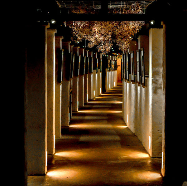 The tunnel of a hotel. A walk from the outside to the hotel. Building Architecture Beautiful Hallway Modern Architecture Sepia Toned Vintage Style Design Entranceway Hotel Illuminated Indoors  Night No People Old Buildings Passageway Perspective View The Way Forward Tunnel View Walkway Way Wooden Worm Lights