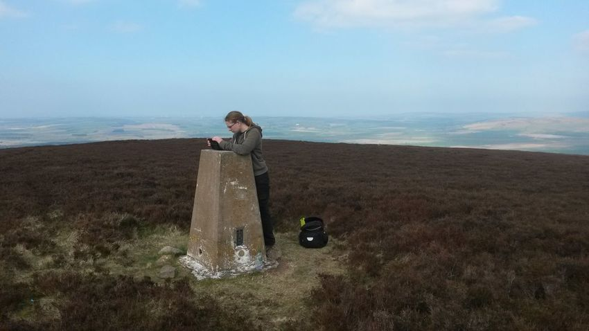 Directions Hilltop Leisure Activity Lifestyles Map Nature Scenics Standing Tranquil Scene Trig Point Young Adult