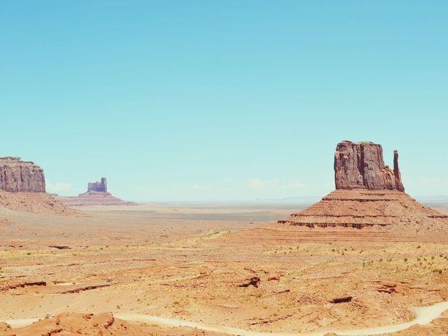 Monument Valley Summer Road Tripping Sand Dune Clear Sky Desert Arid Climate Pyramid Sand Blue Sunny Sky Landscape Arid Landscape