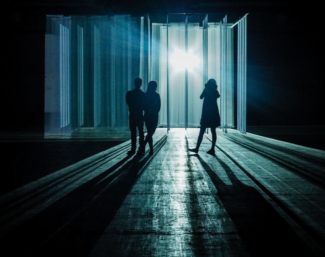 Rear view of silhouette people standing on illuminated corridor