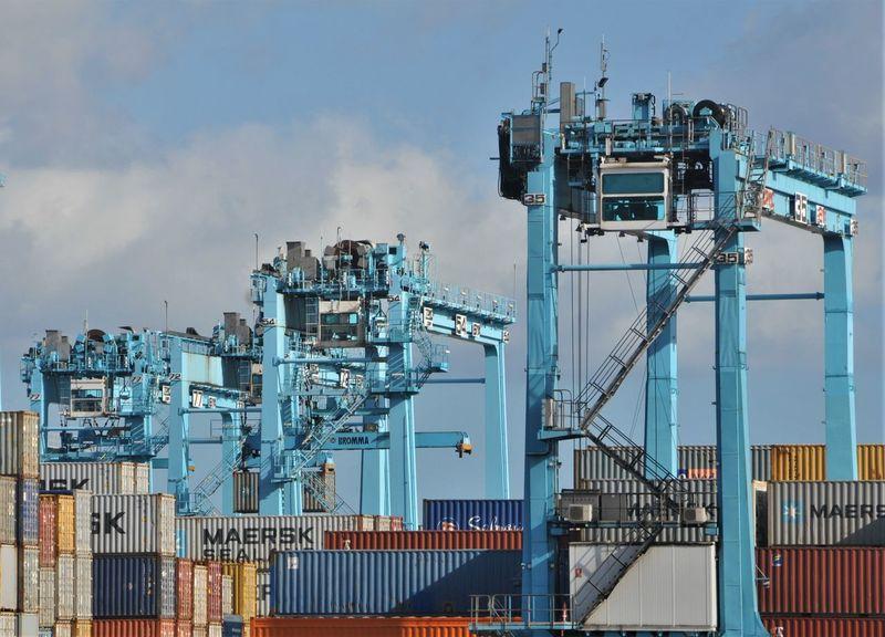 Algeciras Blue Color Container Cranes Harbor Cargo Container Commercial Dock Day España Freight Transportation Industry No People Sky