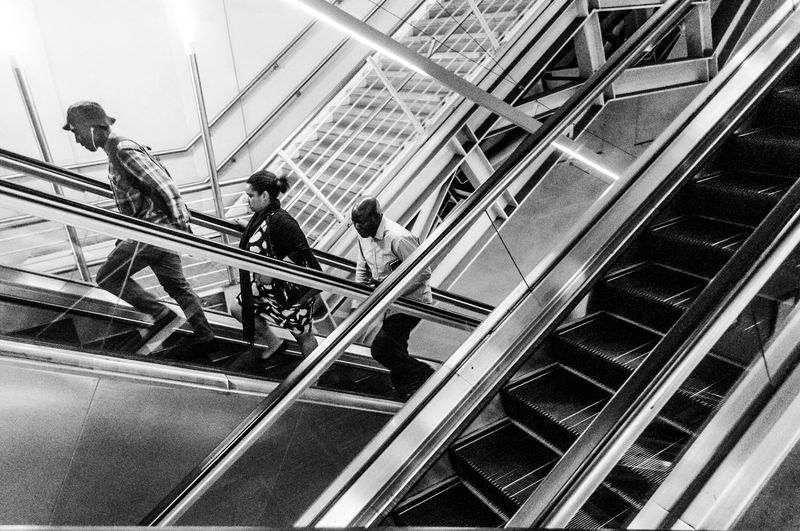On The Move Marius Bester Photography South Africa Eyeem South Africa Black And White Photography Street Photography Pretoria City Pretoria Gautrain Escalator