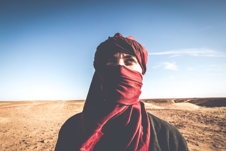 Portrait of person in desert