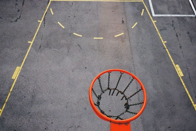 Basketball hoop against court