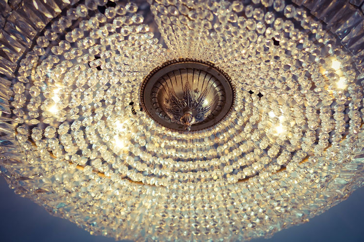Illuminated Luxury Ceiling Directly Below Close-up Chandelier Hanging Light Crystal