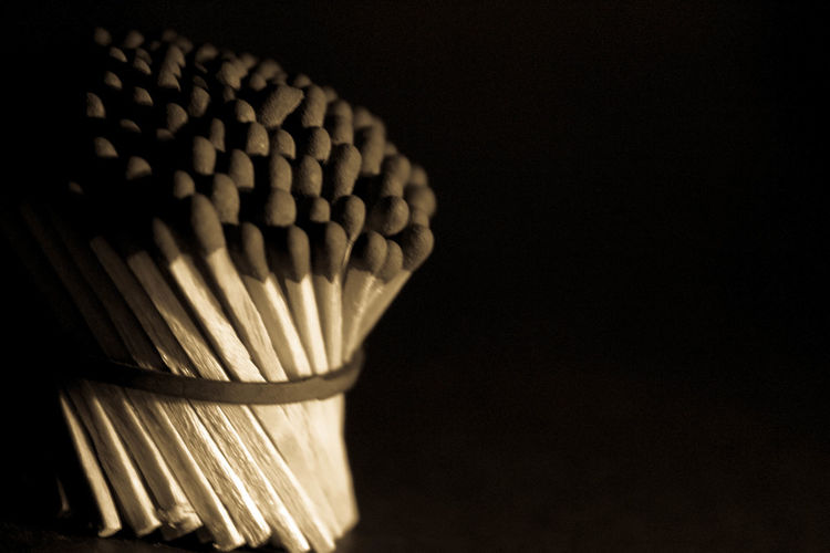 Matchsticks, No People Indoors  Black Background Pattern Product Photography