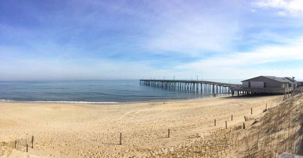 Beach Sea Sand Sky Tranquility Nature Tranquil Scene Water Scenics Beauty In Nature Horizon Over Water Outdoors Cloud - Sky Day No People OBX Outer Banks, NC Travel Visitnc 🌾🌊