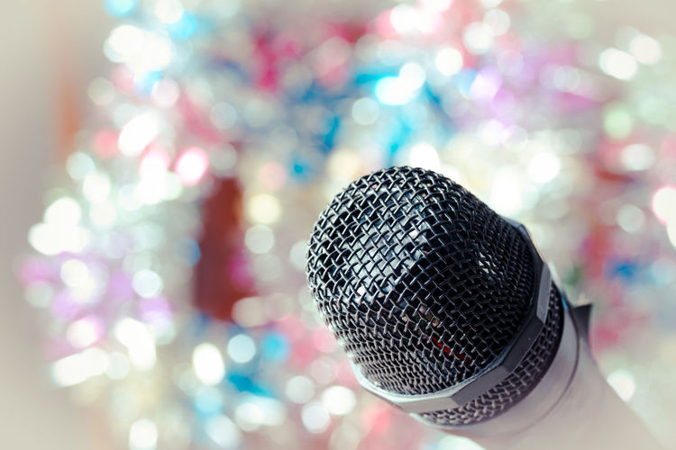 Arts Culture And Entertainment Audio Equipment Close-up Communication Equipment Event Focus On Foreground Indoors  Input Device Metal Microphone Music Night Nightlife No People Pattern Performance Selective Focus Silver Colored Singing Sound Recording Equipment Technology