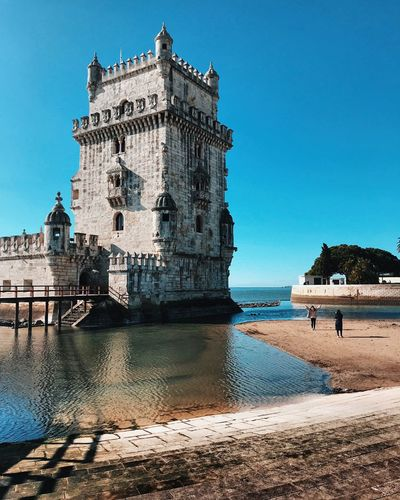 Lisbon has stolen my day, near Belem Tower, I feel free, relaxed and so happy. I'll remember it for a long time. Sky Water Clear Sky Built Structure Architecture Nature My Best Travel Photo Day Travel Destinations Tourism Travel Blue
