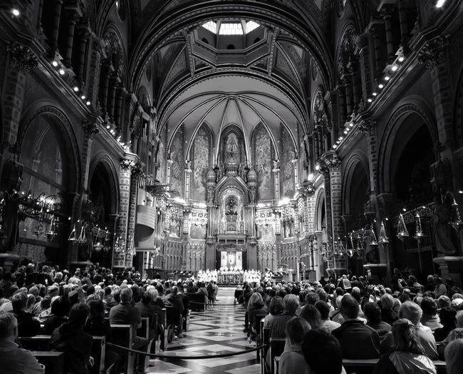 Large Group Of People Architecture Indoors  Travel Destinations Real People WeekOnEyeEm Holiday And Relaxing Black And White Photography Choir Boys Singing