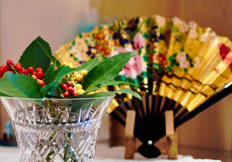 Bowl Colors Focus On Foreground Folding Fan Freshness Gold Colored Green Color Indoors  Japan Photography Japanese Culture Japanese Style Leaf New Year Red Tradition Traditional Culture Yellow Color
