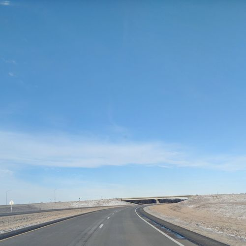 Road Sign Road Winding Road Desert Blue Road Trip Car Empty Road Diminishing Perspective Car Point Of View Multiple Lane Highway