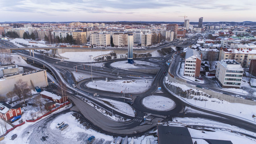 High angle view of city street during winter