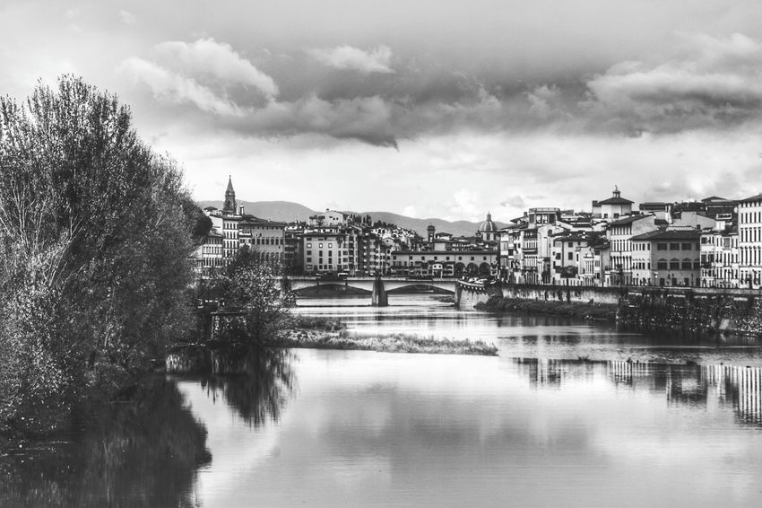 View Of Florence From River Arno Black & White Black And White Monochrome Firenze Italy Florence Italy The Best City In The World River Arno City View  Landscape Reflection Architecture Cloud - Sky Building Exterior Built Structure Water City Sky No People Day Cityscape Outdoors