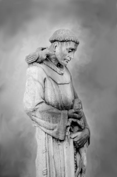 francis of assisi statue with animals in black and white Animals Art Human Representation Low Angle View Male Likeness Religion And Beliefs Saint Sculpture Statue Religion Statue Spirituality Religious Art ArtWork Stone Material Religious  Saint Saint Francis Of Assisi Animals Patron Saint Of Animals Religious  Wings Cement Black And White Prayers Praying