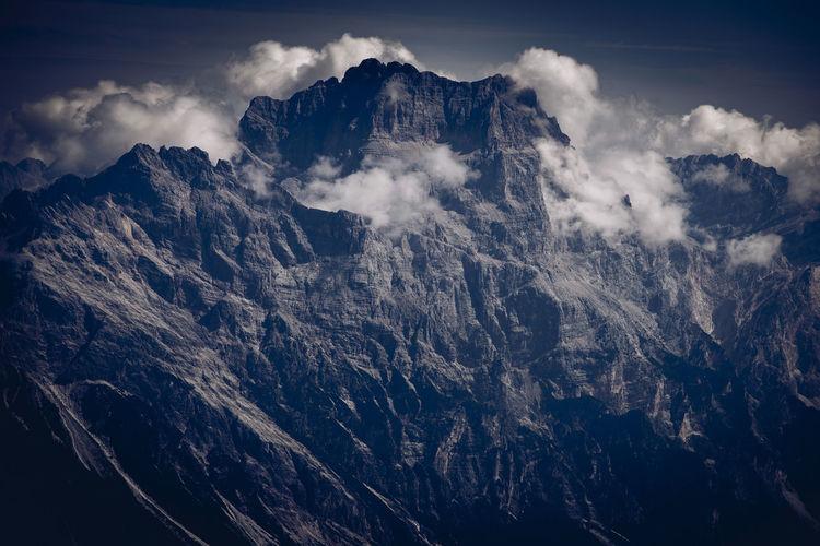 Pelmo mount north wall at pelmo mountain range, dolomites unesco