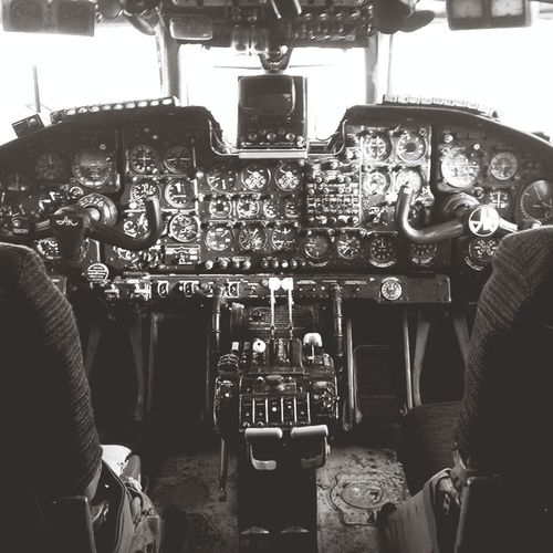 Plane In The Cockpit Flying Blackandwhite