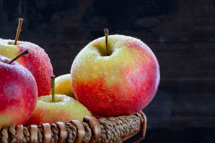 Close-up of apples in basket