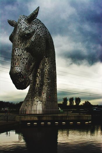 Outdoors Water Sky No People Nature Day Kelpies