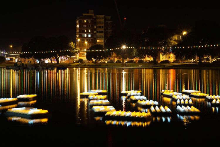 The annual lake of lights at Canoe lake Lake Of Lights Long Exposure Night Water Reflection Outdoors Nightphotography Sony A6000 SEL50F18 Canoe Lake Southsea