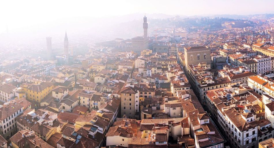 Florence city view from top of Cathedral Cathedral View City Cityscape Urban Skyline Skyscraper Business Finance And Industry Downtown District Modern Aerial View High Angle View Illuminated