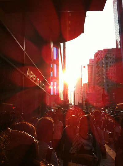 Shot By IPhone HongKong Hongkonger Life Daylight Sunlight Large Group Of People City People Day Hot Day Sunshine Outdoors Moments Red Busy Street Busy Street Photography Daytime City Life