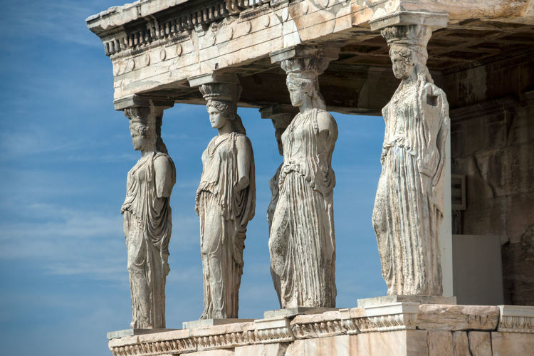 Acropolis Ancient Architectural Column Architecture Art Athens Athens, Greece Blue Built Structure Capital Cities  Carving - Craft Product Cloud Column Day Erechtheion Historical Site History Low Angle View Monument No People Outdoors Sky The Past Tourism Travel Destinations