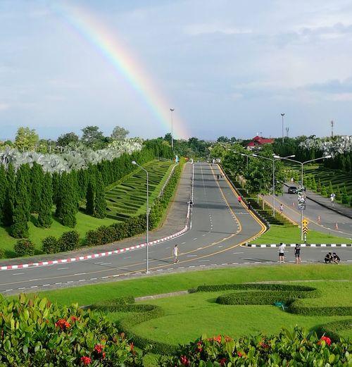 Beautiful Public Park Chiangmai Chiang Mai   Thailand Flower Rainbow Tree Multi Colored Rural Scene Road Sky Grass Cloud - Sky