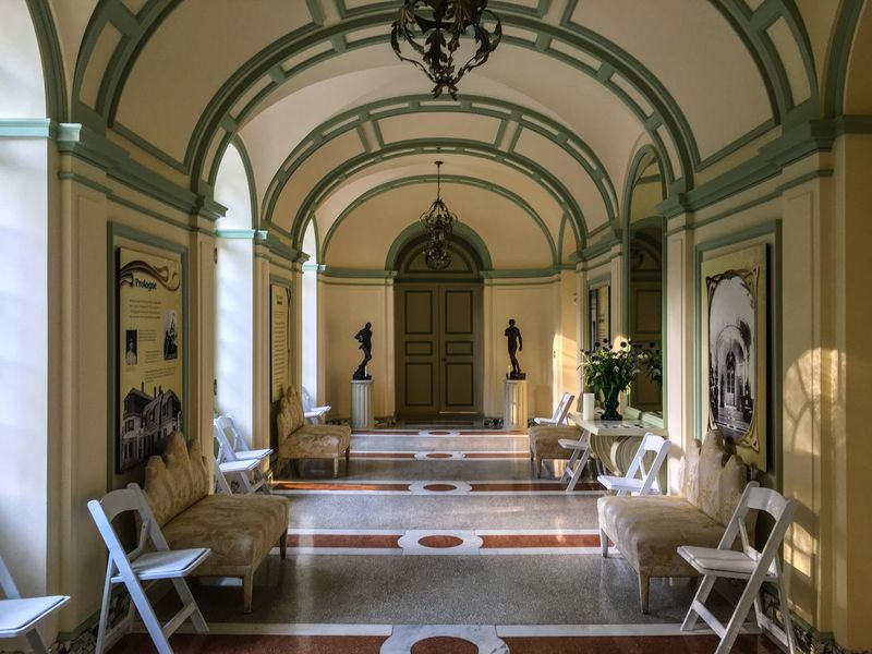 A beautifully designed corridor in the Edith Wharton mansion, a historic building and landmark in Massachusetts. Edith Wharton Estate Historical Building Mansion House Arch Architecture Building Interior Built Structure Chair Corridor Corridor View Day Historic Building Indoors  Luxury No People Seat