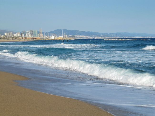 Barcelona Clear Sky Sunny Blue Blau Himmel Travel Destinations Travelphotography Beauty In Nature Beach Sea Sand Wave Water Vacations Scenics Water's Edge Architecture Canon Powershot SX200 IS Canon Powershot Your Ticket To Europe