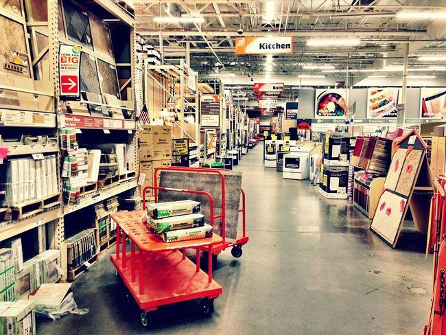Inside a Home Depot store Store Isle Home Improvement Store Home Improvements Home Depot Architecture Built Structure Transportation City No People Indoors  Wall - Building Feature Day Travel Illuminated Abundance Store